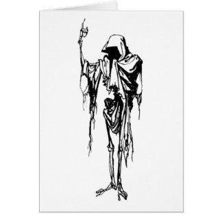 hooded skeleton greeting card