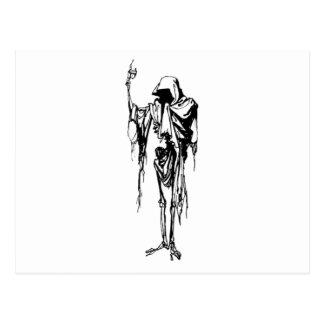 hooded skeleton post cards