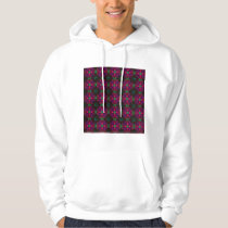 Hooded Sweatshirt - Fractal Pattern pink green