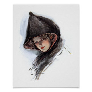 Hooded vintage lady poster