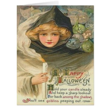 Halloween Themed Hooded Woman Goblin Goblins Creatures Candle Card