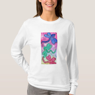 Hooded Women's Long Sleeve Dragonflies Evoking Joy T-Shirt