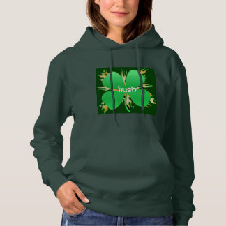 Hoodie, green with Shamrock Hoodie