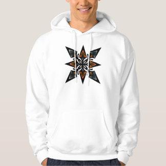 Hoodie, Spearhead Star Flower, Orange, Grey Hoodie