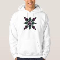 Hoodie, Spearhead Star Flower, Violet, Teal Hoodie