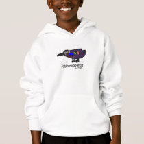 Hoodie with colorful kid-drawn animal artwork