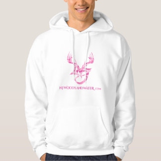 Hoodie with pink camo logo on front