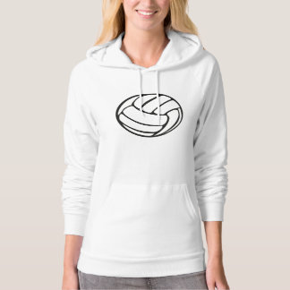 Hoodie with Volleyball Silhouette in Black