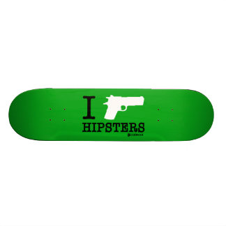 "Hoodman ""I Shoot Hipsters"" Green Skateboard"