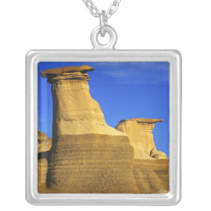 Hoodoos at Drumheller Alberta, Canada 2 Silver Plated Necklace