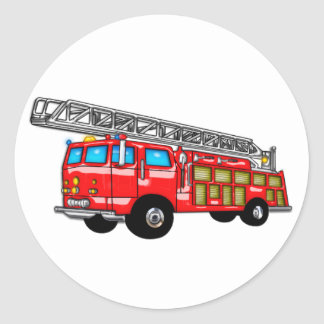 Hook and Ladder Fire Engine Classic Round Sticker