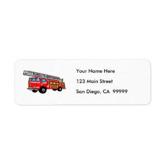 Hook and Ladder Fire Engine Label