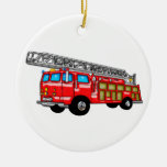 Hook and Ladder Fire Engine Double-Sided Ceramic Round Christmas Ornament