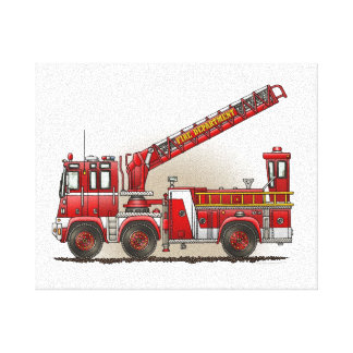 Hook and Ladder Fire Truck Canvas Print