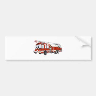 Hook and Ladder Fire Truck Cartoon Car Bumper Sticker