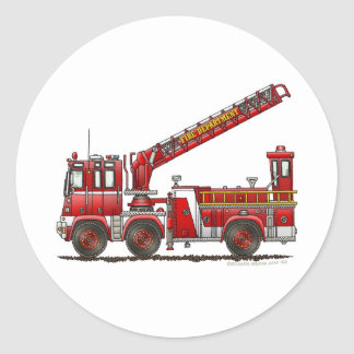 Hook and Ladder Fire Truck Classic Round Sticker