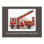 Hook and Ladder Fire Truck Personalized Invitations