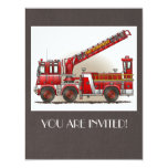 """Hook and Ladder Fire Truck 4.25"""" X 5.5"""" Invitation Card"""