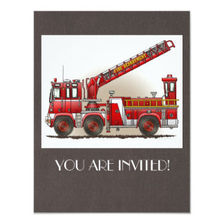 Hook and Ladder Fire Truck 4.25x5.5 Paper Invitation Card