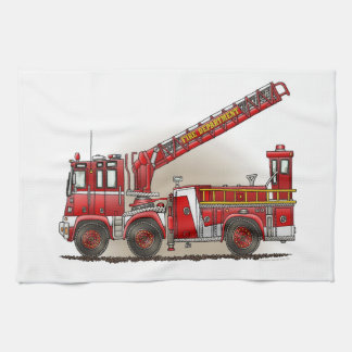 Hook and Ladder Fire Truck Hand Towels