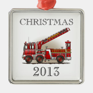 Hook and Ladder Fire Truck Square Metal Christmas Ornament