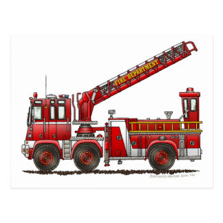 Hook and Ladder Fire Truck Post Cards