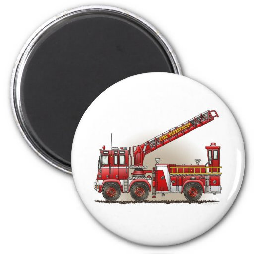 Hook and Ladder Fire Truck Round Magnet