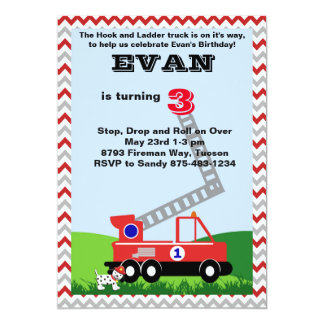 Hook and Ladder Truck Invitation