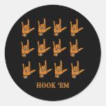 Hook Em Round Stickers