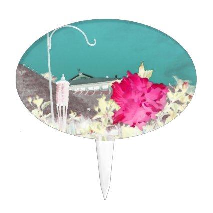 hook hibiscus flower painting invert teal pink cake picks