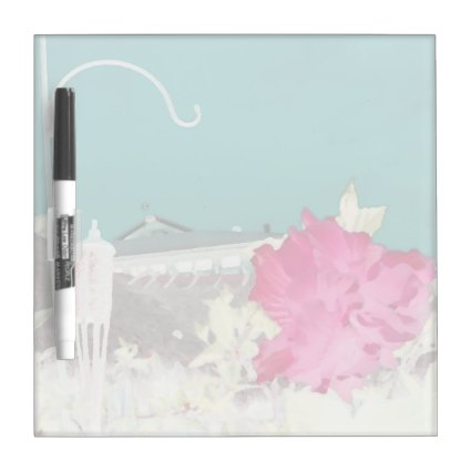 hook hibiscus flower painting invert teal pink Dry-Erase boards