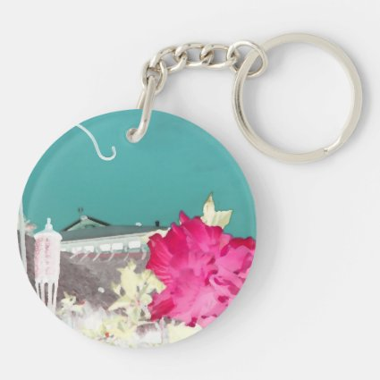 hook hibiscus flower painting invert teal pink keychains