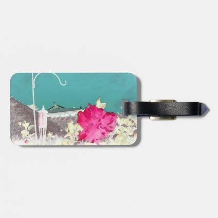 hook hibiscus flower painting invert teal pink luggage tag