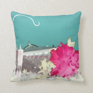 hook hibiscus flower painting invert teal pink pillows
