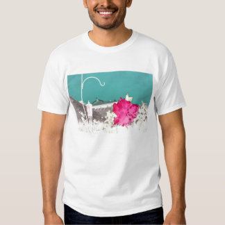 hook hibiscus flower painting invert teal pink t-shirts