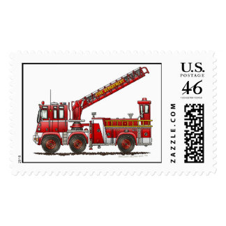 Hook Ladder Fire Truck Stamps