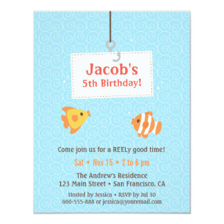 Hook on Fishing Kids Birthday Party Invitations