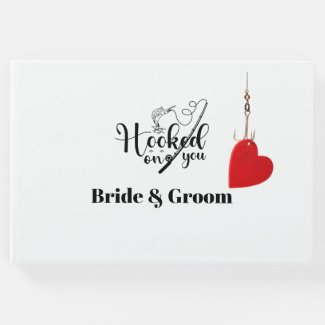 Hook on you for fishing lover fisherman wedding guest book