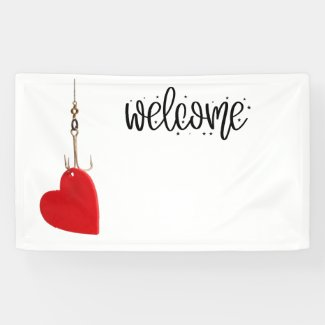 Hook with love Fishing wedding welcome Banner