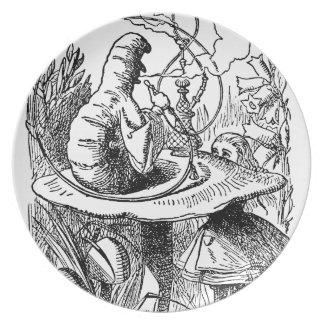 Hookah Smoking Caterpillar Alice in Wonderland Melamine Plate