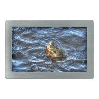 Hooked Bluegill Sun Fish Gone Fishin' Art Belt Buckle