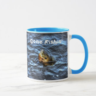 Hooked Bluegill Sun Fish Gone Fishin' Art Mug