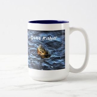 Hooked Bluegill Sun Fish Gone Fishin' Art Two-Tone Coffee Mug