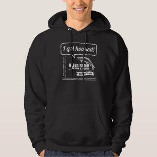 """Hooked"" design on dark Hooded Sweatshirt"