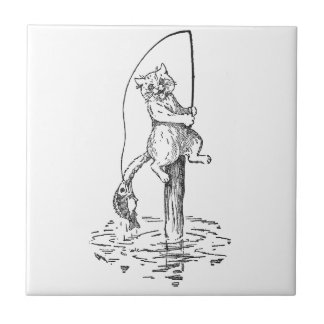 Hooked Fish Catches Cat's Tail Ceramic Tile