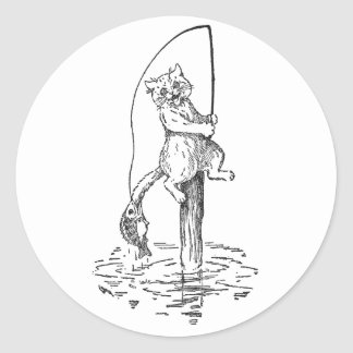 Hooked Fish Catches Cat's Tail Classic Round Sticker