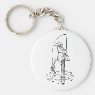 Hooked Fish Catches Cat's Tail Keychain