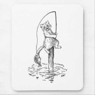 Hooked Fish Catches Cat's Tail Mouse Pad