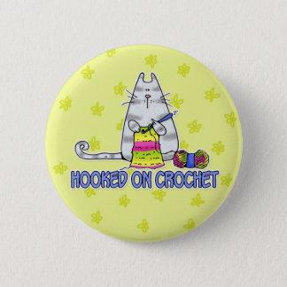 hooked on crochet pinback button
