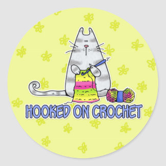 hooked on crochet classic round sticker